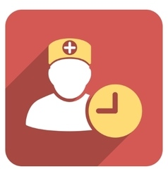 Doctor Hours Flat Rounded Square Icon with Long vector