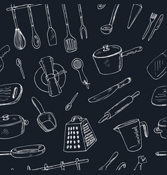 doodle kitchen tool seamless pattern vector image