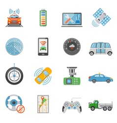 Driverless car autonomous vehicle icons set vector