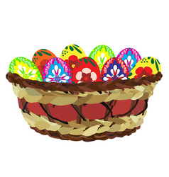 easter eggs in wicker basket flat isolated vector image
