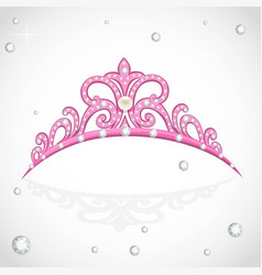 Elegant shiny pink tiara with precious stones and vector
