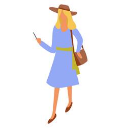 elegant woman with handbag and smartphone in hands vector image