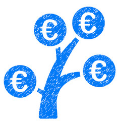 euro money tree icon grunge watermark vector image