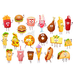 fast food cartoon characters burgers and drinks vector image