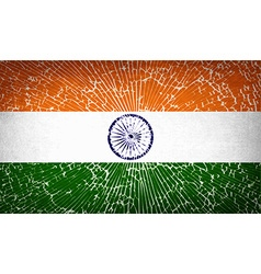 Flags India with broken glass texture vector