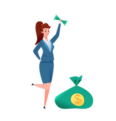 flat business woman dollar banknote success vector image