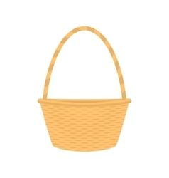 flat cartoon empty straw wicker basket vector image