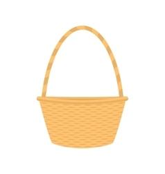 Flat cartoon empty straw wicker basket vector