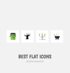 flat icon halloween set of candlestick terrible vector image