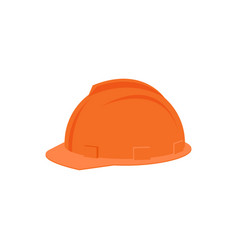 Flat icon of plastic orange helmet for vector
