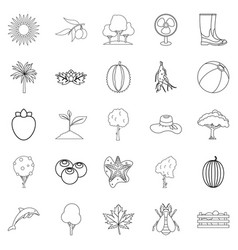 flourish icons set outline style vector image