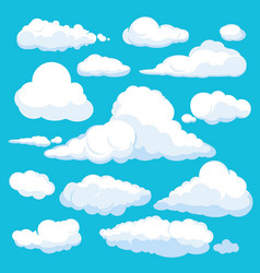 fluffy cartoon clouds shine sky weather vector image