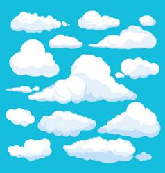 Fluffy cartoon clouds shine sky weather vector