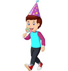 funny boy eating ice cream cartoon vector image