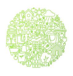 Garden line icon circle design vector