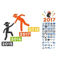 Gentleman Annual Help Icon With 2017 Year Bonus vector image