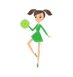 Girl cheerleader in green costume dancing with vector