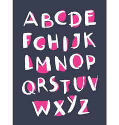 grunge style alphabet handwritten font vector image