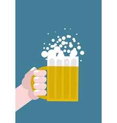 Hand holding mug of beer alcohol consumption mans vector