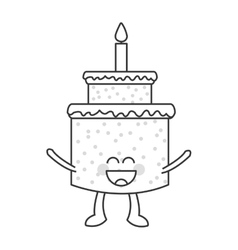 Happy Cute kawaii cake with candle vector