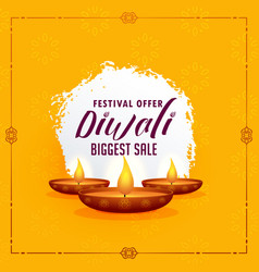 happy diwali greeting design template with three vector image