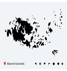 High detailed map of aland islands with navigation vector