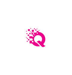 initial q digital logo icon technology vector image
