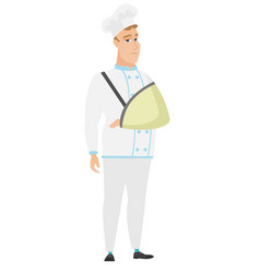 injured chef cook with broken arm vector image