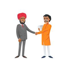 Intercultural businessmen shaking hands vector