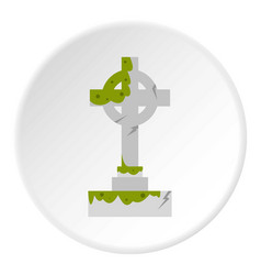 Irish celtic cross with green slime icon circle vector
