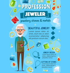 jeweler or goldsmith jewelry and tools vector image