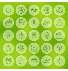 Line Circle Web Ecology Energy Power Icons Set vector