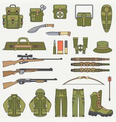 Line flat color hunt and camping equipment vector