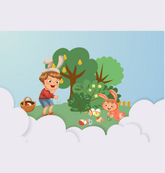 little boy smile hunting decorative chocolate egg vector image