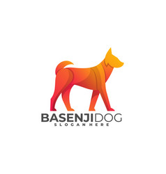 Logo dog walking gradient colorful style vector