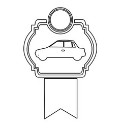 Monochrome contour of automobile of side view in vector