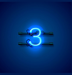 Neon city font sign number 3 signboard three vector