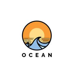 ocean wave with sunset logo design ve vector image