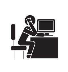 Office employee calling in office black vector