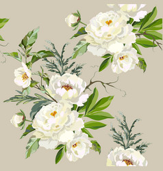 Pattern with white peonies vector
