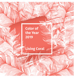 pink living coral and white trendy color palette vector image