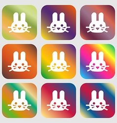 Rabbit icon sign Nine buttons with bright vector image