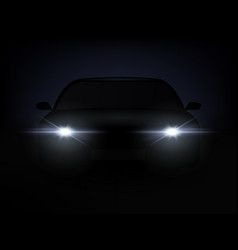 realistic car lights effect from darkness vector image