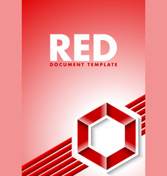 red document template with lines and hexagonal vector image