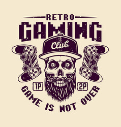 retro gaming club with bearded gamer skull vector image
