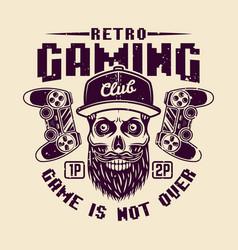 Retro gaming club with bearded gamer skull vector