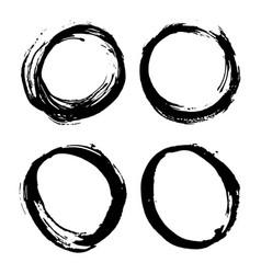 round frames grunge textured hand drawn elements vector image