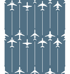Seamless pattern with passenger airplanes and line vector