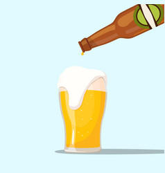 Serving a beer on a blue background vector