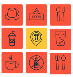 Set of 9 food icons includes tea no drinking vector